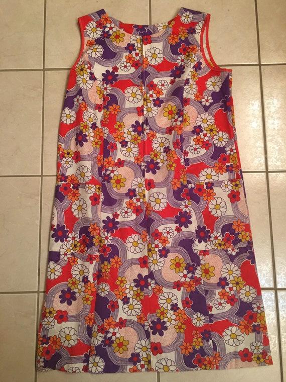 1960s flower power mini dress - mini skirt retro