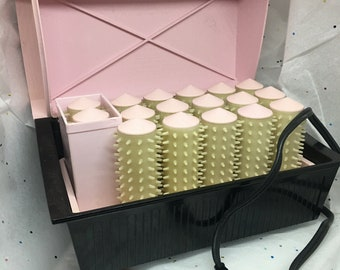Vintage Steamset pink rollers  Personal Hairdresser, pink rollers & steamer, mcm pink hair roller set, 1960s mid century hair, pink pinup