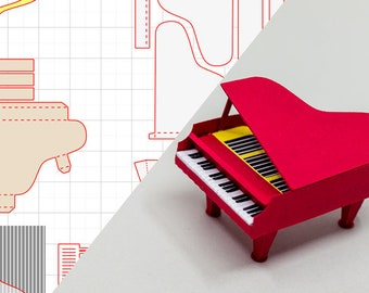 Grand Piano SVG, STUDIO3 and PDF for Silhouette Cameo or Brother ScanNCUT or other Cutting Machine, digital Download.