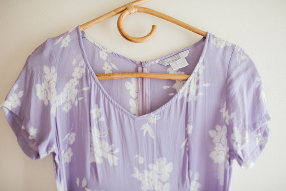 Vintage Lilac Purple Floral Dress - image 8