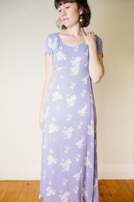 Vintage Lilac Purple Floral Dress - image 7