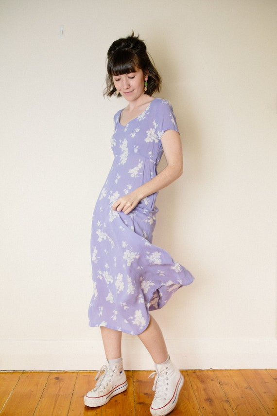 Vintage Lilac Purple Floral Dress