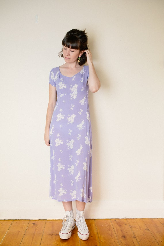 Vintage Lilac Purple Floral Dress - image 3