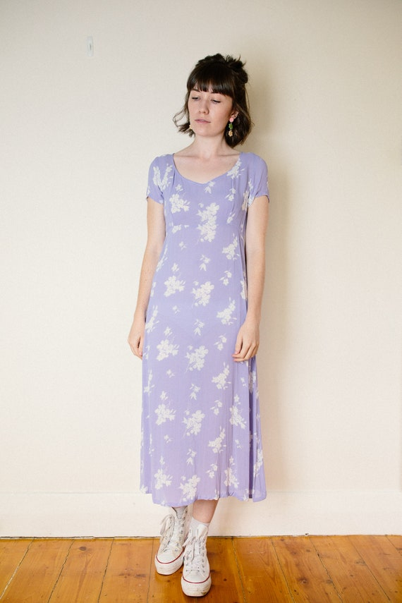 Vintage Lilac Purple Floral Dress - image 9
