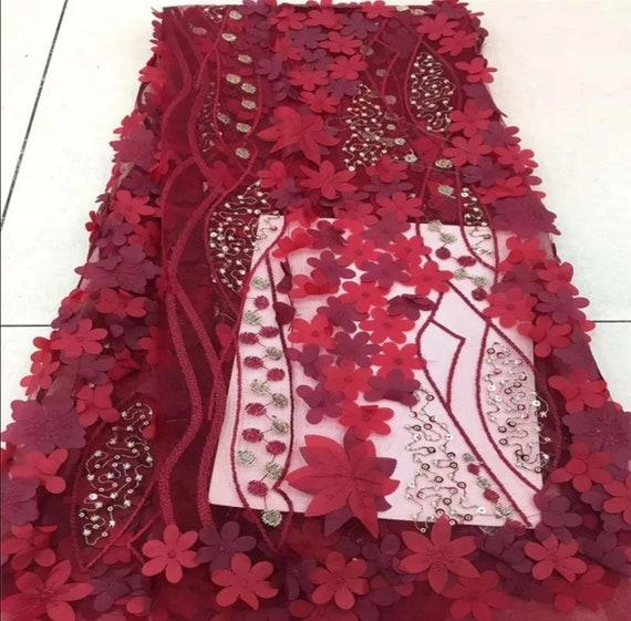 Tissu dentelle filet africain 2018 haute qualité broderie avec strass belle broderie qualité dentelle Français 3D dentelle pour robe de mariée 6e5ae8