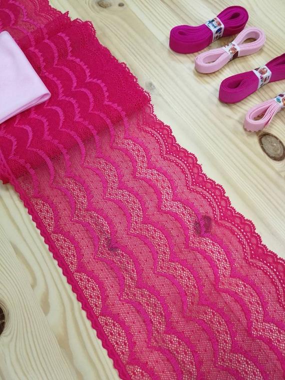 Kit de de Kit dentelle «Hot pink» pour les sous-vêtements à la main. largeur de 15 cm, lingerie DIY, câblé culotte soutien-gorge et de la dentelle. Fournitures de soutien-gorge, bramaking, kit de lingerie 277d43