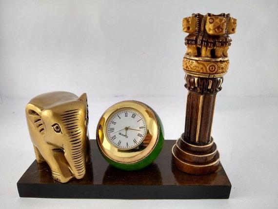 Jp craft handmade stambh ashok en bois avec éléphant et horloge