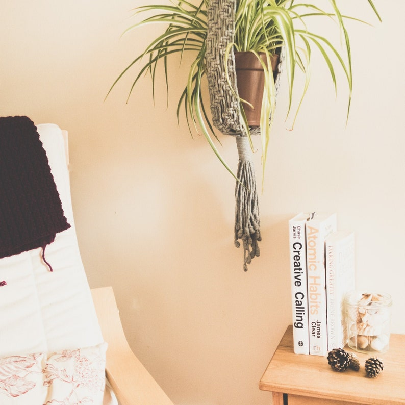 Extra Long Macrame Plant Hanger RIVER Made from Natural Cotton image 0