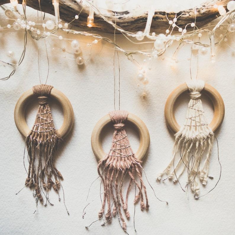 Set of 3 Modern Boho Ornaments  Mini Macrame Dream Catchers  One of each