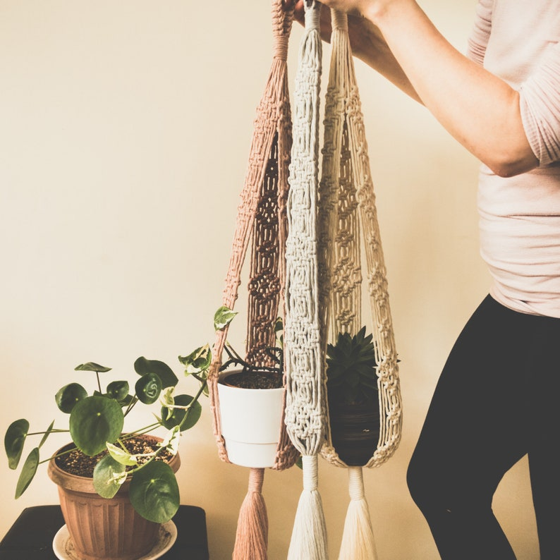 Macrame Plant Hanger TUPS Made from 100% Recycled Cotton Cord image 0