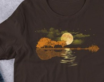 18b21e384 Guitar Lake Shadow Love Guitar T Shirt Unisex T-Shirt Acoustic guitar  player Gift Christmas Birthday Guitar Lover Best Guitarist Gift Idea