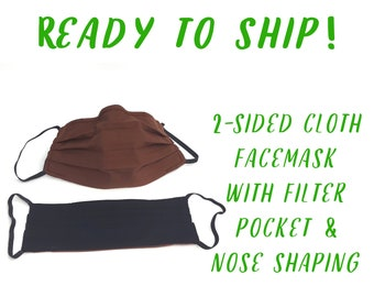 Cloth Face Mask with Pocket & Nose Bridge Wire, Reversible Military Uniform Colors, Coyote Brown and Black, Made in USA, Washable Cloth Mask