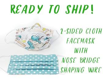 Unicorn Cloth Face Mask with Nose Bridge Shaping, Reversible Cloth Mask, One Unisex Cloth Mask, Washable Cloth Mask, 2 sided fabric mask