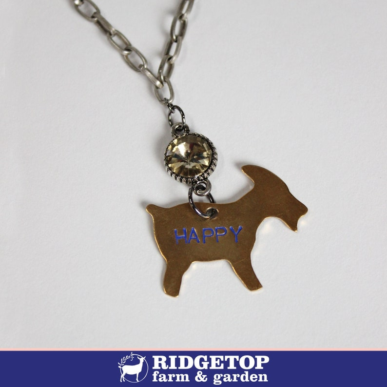 HAPPY GOAT NECKLACE with rhinestone hand stamped jewelry image 0