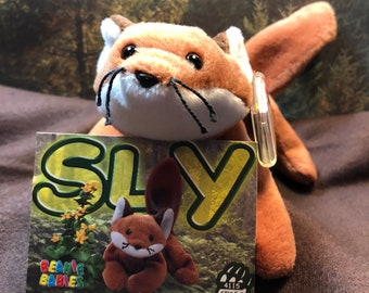 7e0c96d56c9 Vintage Beanie Baby SLY the FOX Mint Condition with Original Tags 9-12-96  Collector Card Included