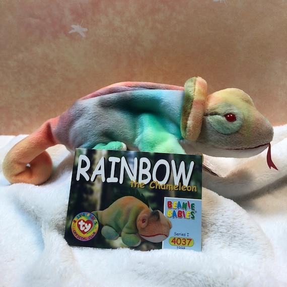 1997 Ty Original Beanie Babies RAINBOW The Blue//Green Chameleon w//Tags 9 inch