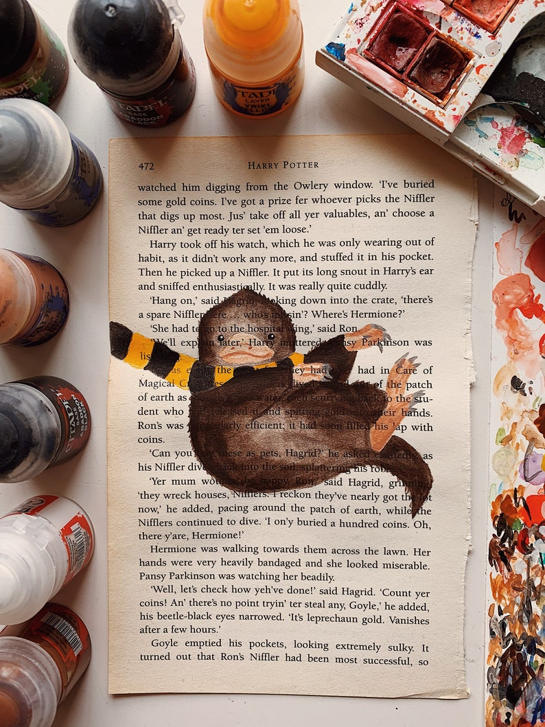 Fantastic Beasts NIFFLER Inspired Book Page Painting PRINT  image 0