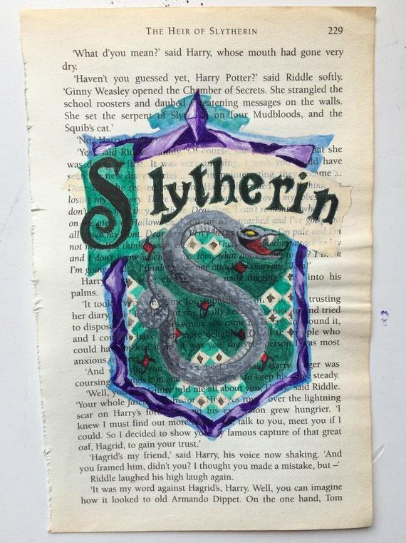 Harry Potter Slytherin Wappen inspiriert Buch Seite Malerei Druck