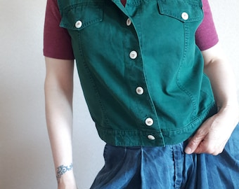 Women's Men's Unisex Forest Green Soft Retro Denim Sleeveless Loose Retro 90's 80's Summer Festival Casual Shirt Waistcoat Gilet S M