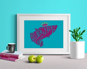 Fish Art Print, Fish Wall Art, Kids Room Art, Nursery Decor, Printable Art, Digital Art Print, Digital Download, Instant Download