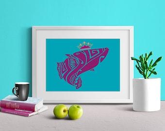 Fish Art Print, Fish Wall Art, Kids Room Art, Nursery Decor, Printable Art, Digital Art Print, Digital Download, Instant Download