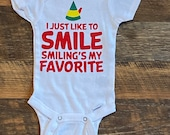 Elf Onesie, Funny Onesie, Christmas Onesie, Smiling is my Favorite, Baby Onesie, Holiday Onesie, Baby boy, Baby girl