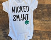Custom Baby Boy Onesie, Funny Onesie, Wicked Smaht, Personalized Onesie, Boston Onesie, Massachusetts Onesie