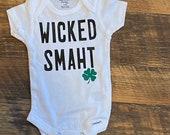Custom Baby Boy Onesie, Funny Onesie, Wicked Smaht, Personalized Onesie, Boston Onesie, Massachusetts Onesie