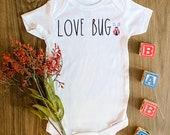 Love Bug Onesie, Unisex Onesie, Rae Dunn Font Onesie, Rae Dunn Inspired, Backup Onesie, Personalized Onesie, New Baby Onesie