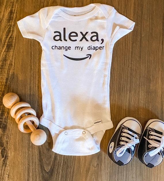 Baby Onesie Bodysuit Creeper Custom Made ALEXA Change My Diaper