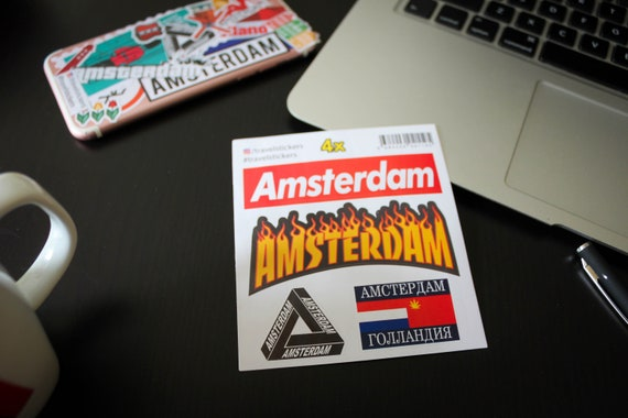 Amsterdam stickers in Supreme, Thrasher, Palace and Gosha Rubchinskiy  style  Sticker for laptop, travel luggage, car bumper, travelstickers