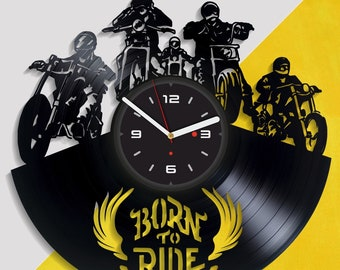 motorbike wall art modern wall clock biker legend art vinyl record clock motorcycle gift motorbike for men christmas gift motorcycle art