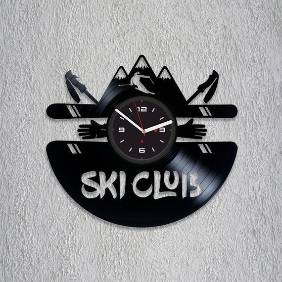Ski Decor Vinyl Record Clock