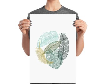 Green Tropical Leaves Matte Poster Print, Wall Art Prints,green Palm Leaves,tropical  Decor,tropical Leaves Print,tropical Home Decor