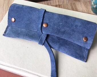 Blue Suede Leather Sunglasses Case