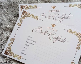 Timeless Classic Design Cat/Dog Puppy/Kitten Birth Certificate Forms
