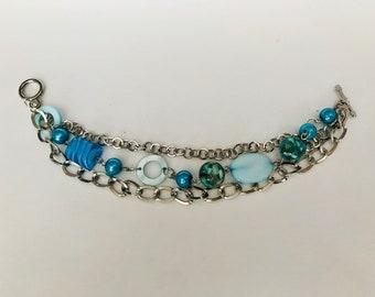 Aqua Beaded Chain Bracelet