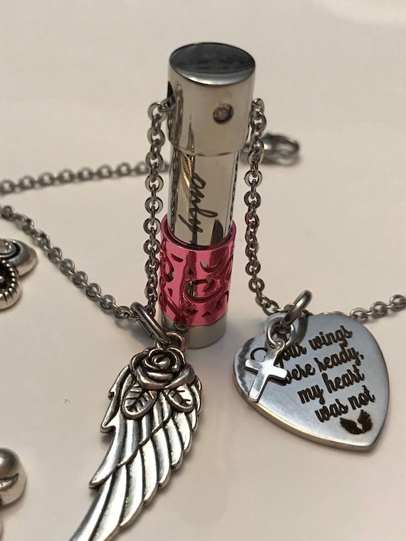 Keepsake Jewelry NecklaceBenefits Charity Memorial Silver Rose Gold Human Ashes Urn for Loved One Cremation