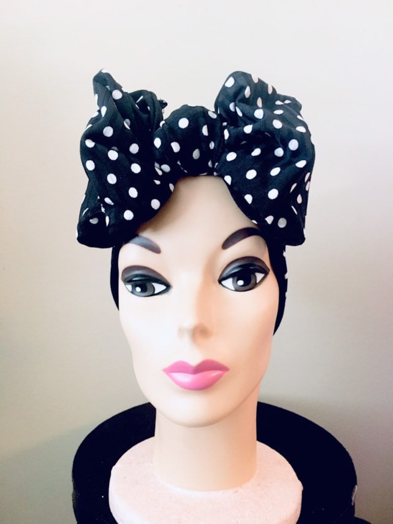 1940s Hairstyles- History of Women's Hairstyles Polka Dot Butterfly Bow Turband Land Girls 1940s Vintage Style Rockabilly Pinup Hair Band Turban Retro Black Hair Bow $29.24 AT vintagedancer.com