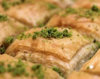 Tray of Arabic Baklava with Pistachios