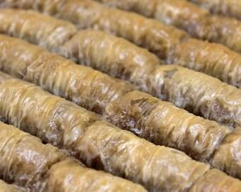 Tray of Cevizli Sarma / Walnut Rolls Baklava
