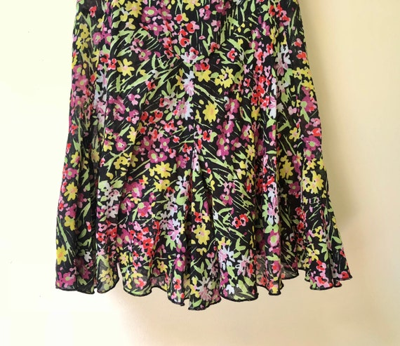 Black Floral Print Slip Dress - image 3