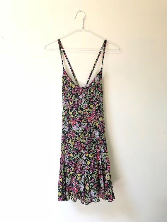 Black Floral Print Slip Dress - image 1