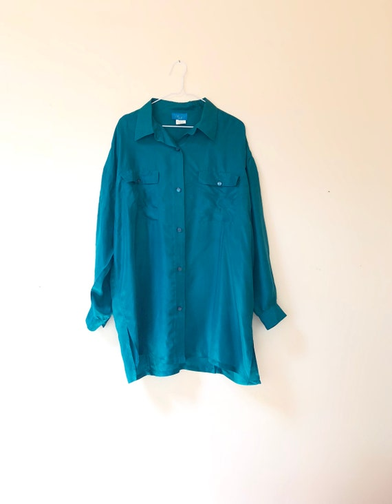ddb87e963fd Teal Silk Oversized   Plus Size Blouse