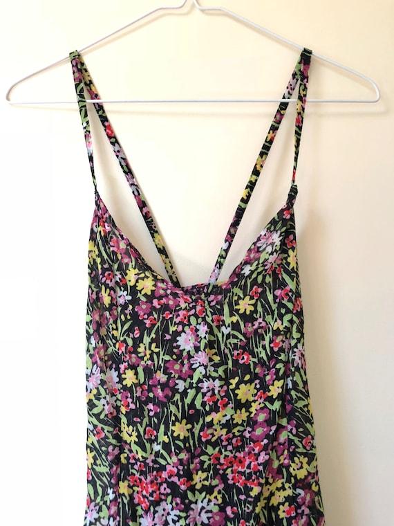 Black Floral Print Slip Dress - image 2
