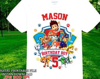 Paw Patrol Iron On Transfer Birthday Shirt Personalize Digital Item