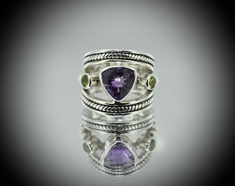 Amethyst and Peridot sterling silver Ring .925
