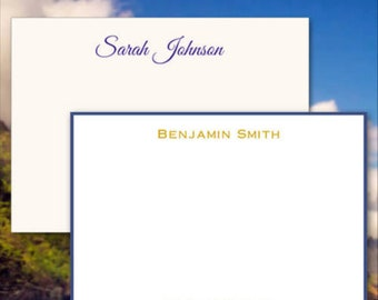 Professional Personalized Flat Cards - Raised Ink Stationery - Optional Border - Made In The USA