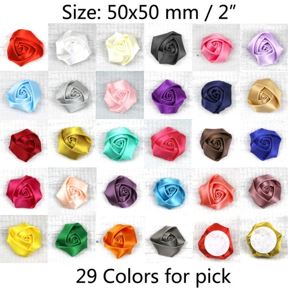 """10-100Pcs 2/"""" Fake Rose Flower Satin Ribbon Sewing Appliques Clothing Accessories"""