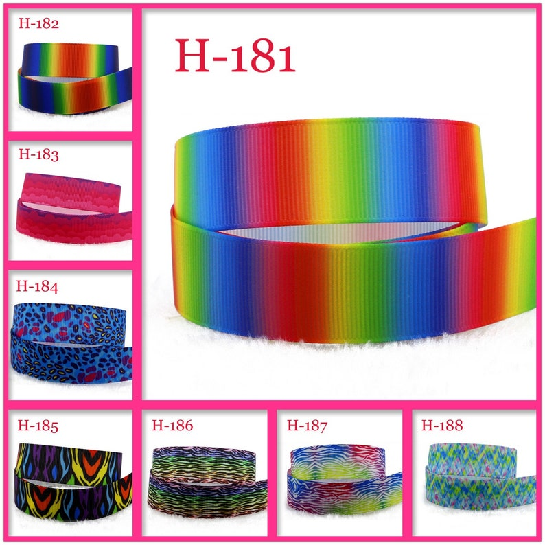 "7//8/"" Gradient Rainbow Printed Grosgrain Ribbons Cartoon DIY Handmade Materials"